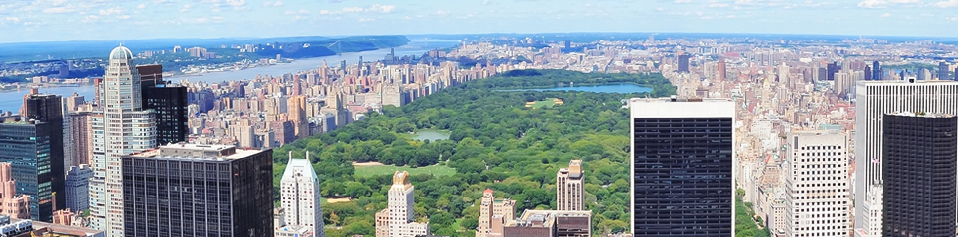 Panoramic views of Midtown of New York City and Central Park on city-walk in New York City