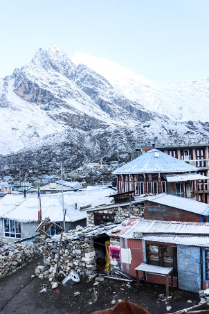 Kanjin Gompa after snowfall in the night