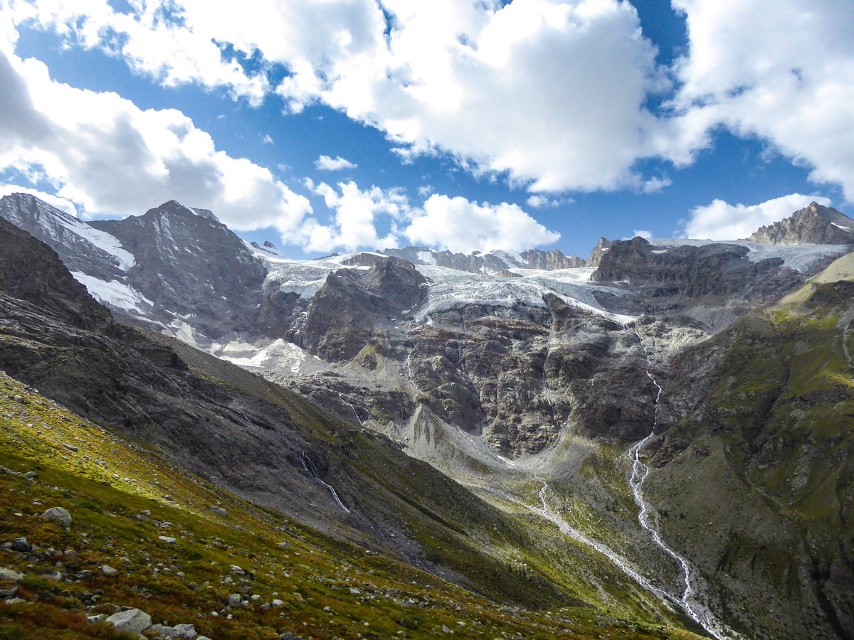 Land of waterfalls on Alpe Money hike in Gran Paradiso National Park, Italy