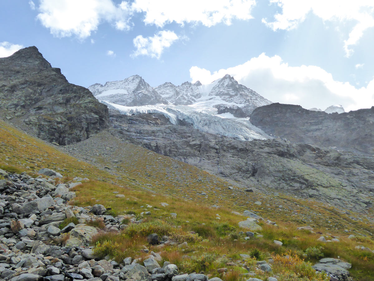 Money Glacier from below on Alpe Money hike in Gran Paradiso National Park, Italy