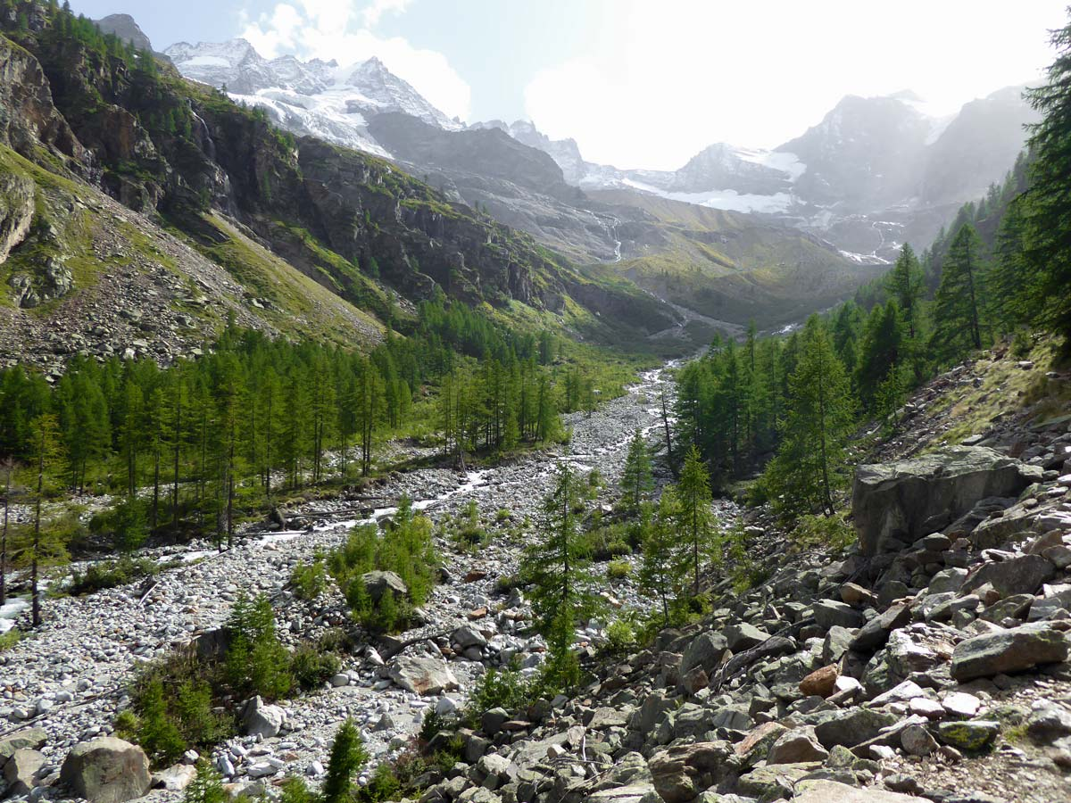 Valnontey River on Alpe Money hike in Gran Paradiso National Park, Italy