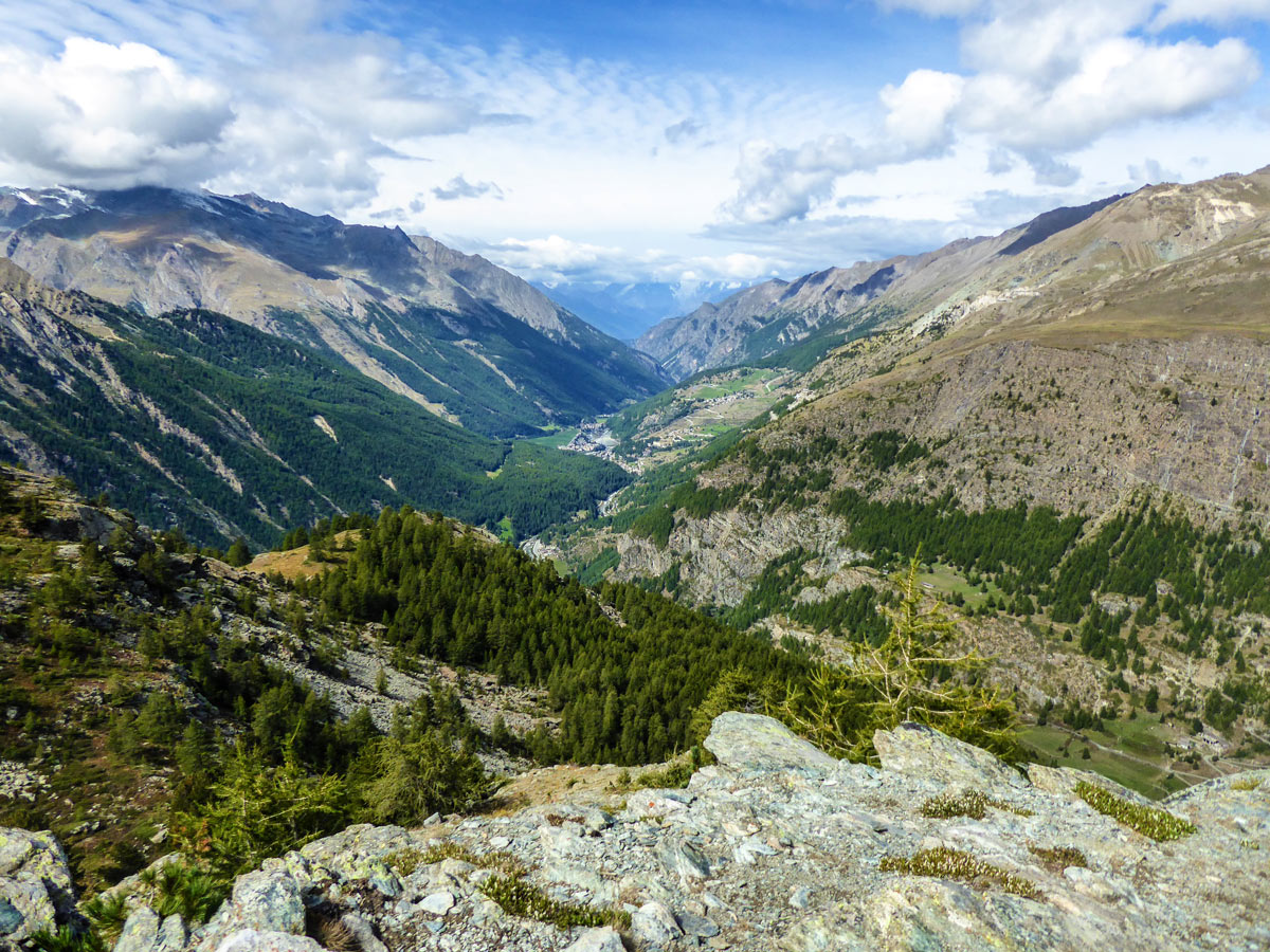 View from highest part of Lago di Loie hike in Gran Paradiso National Park, Italy