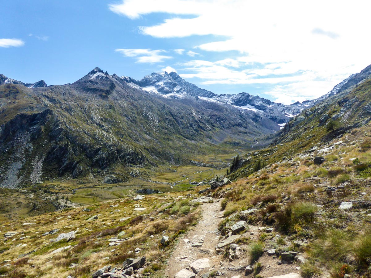 Descending to Bardoney Valley on Lago di Loie hike in Gran Paradiso National Park, Italy