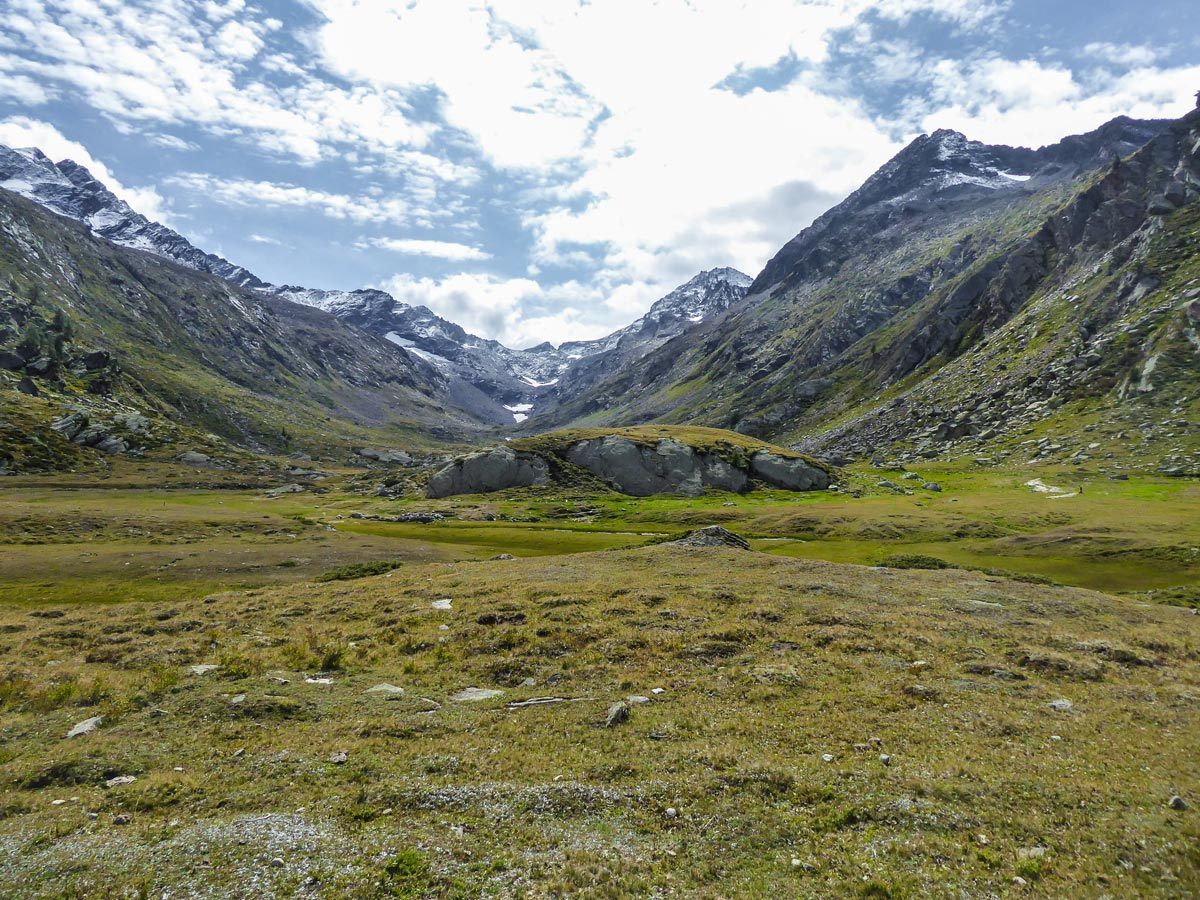 Beautiful meadow in Bardoney Valley on Lago di Loie hike in Gran Paradiso National Park, Italy