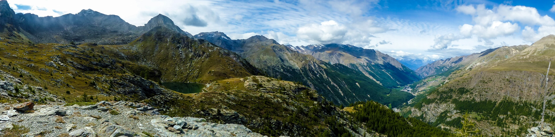Panoramic view from the top of Lago di Loie hike in Gran Paradiso National Park, Italy