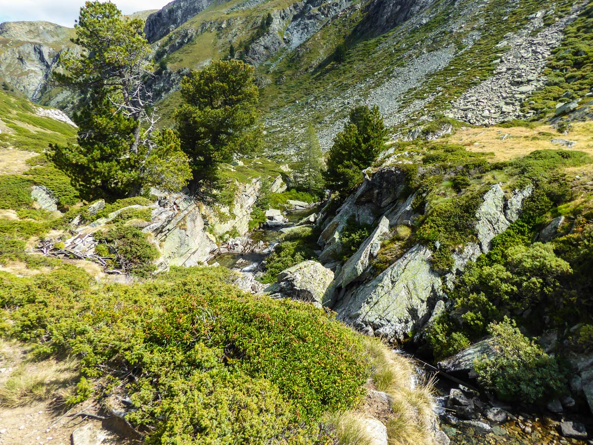 Stream along the trail on Lago di Loie hike in Gran Paradiso National Park, Italy