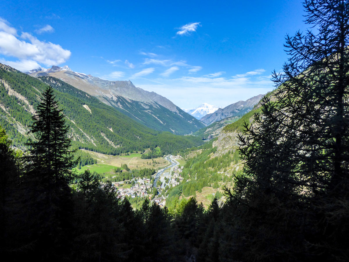Looking at Lillaz from Lago di Loie hike in Gran Paradiso National Park, Italy