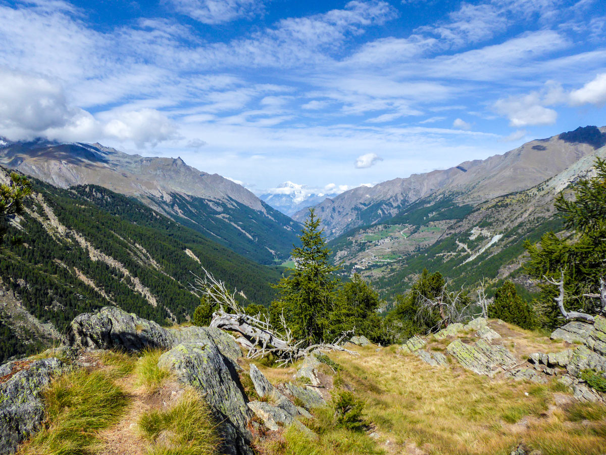 Valley views with Mt Blanc behind on Lago di Loie hike in Gran Paradiso National Park, Italy