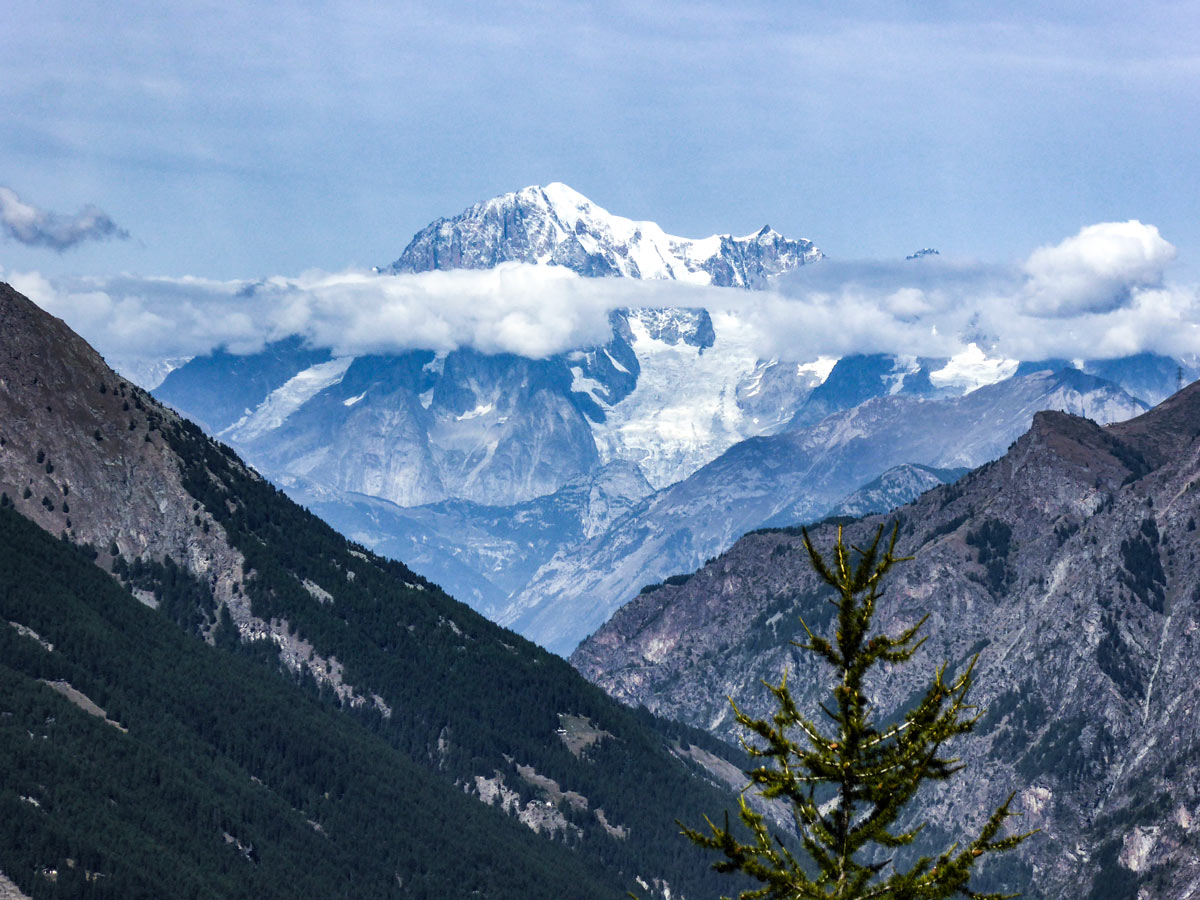 Mont Blanc view from Lago di Loie hike in Gran Paradiso National Park, Italy
