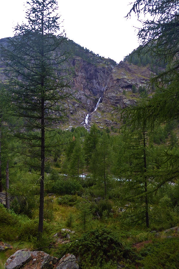 Waterfall on Valnontey River hike in Gran Paradiso National Park, Italy