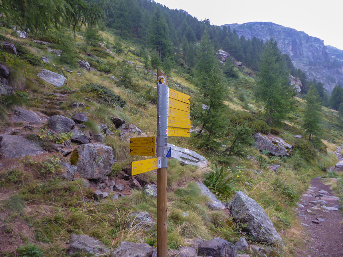 Waypoint on Valnontey River hike in Gran Paradiso National Park, Italy