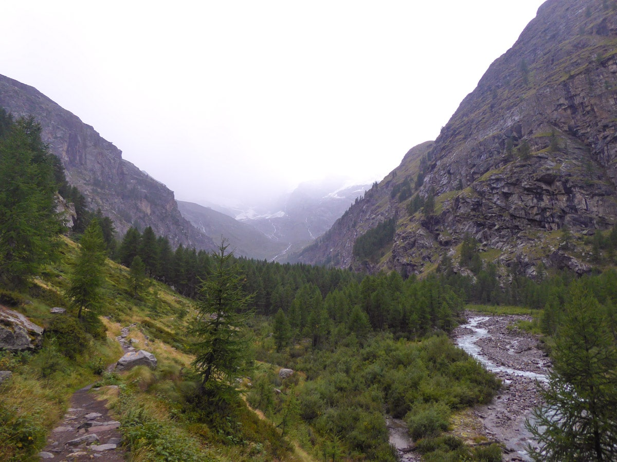 Trail and Valnontey River in Gran Paradiso National Park