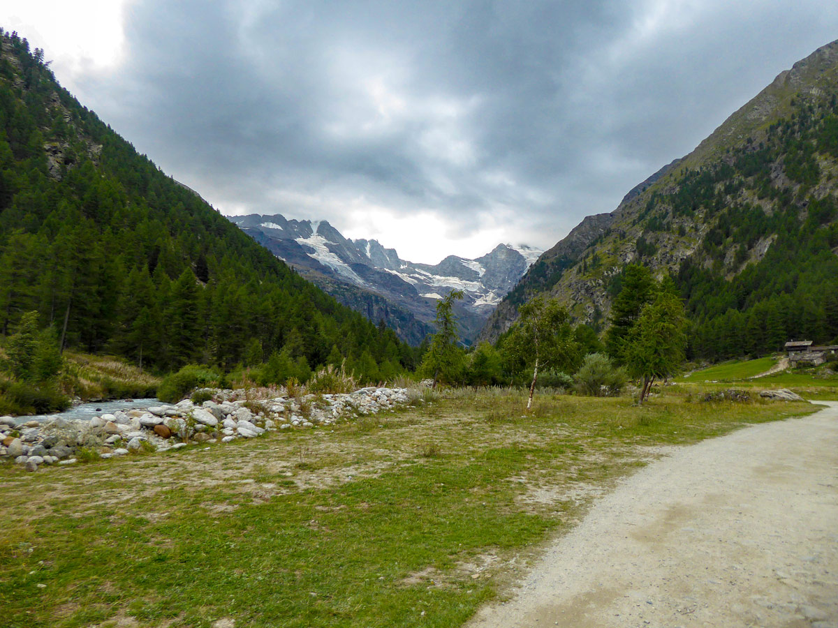 Slowly approaching glaciers on Valnontey River hike in Gran Paradiso National Park, Italy