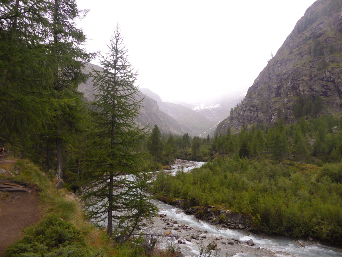 Rainy day on Valnontey River hike in Gran Paradiso National Park, Italy