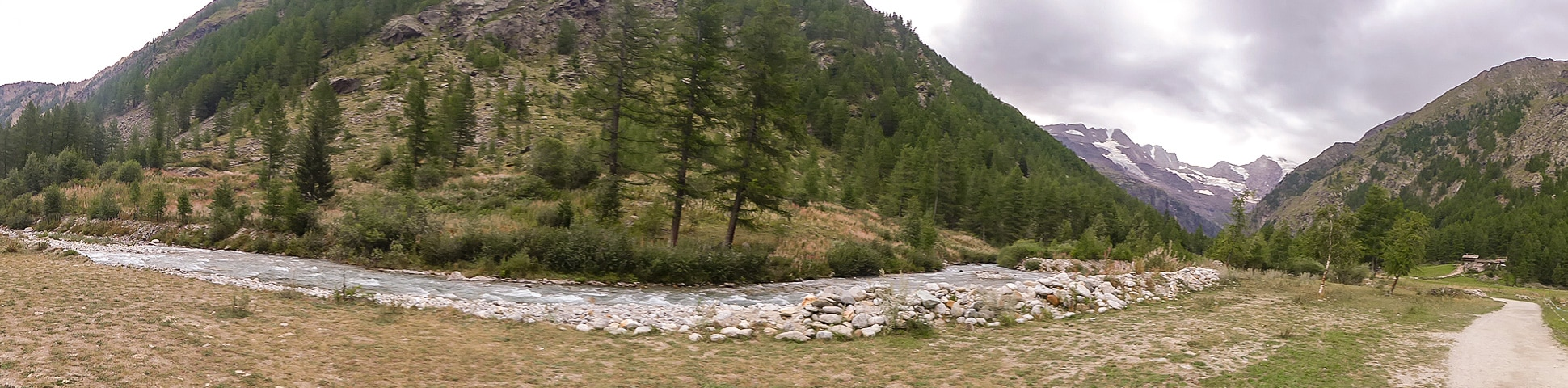 Panoramic view of Valnontey River trail near Aosta Valley