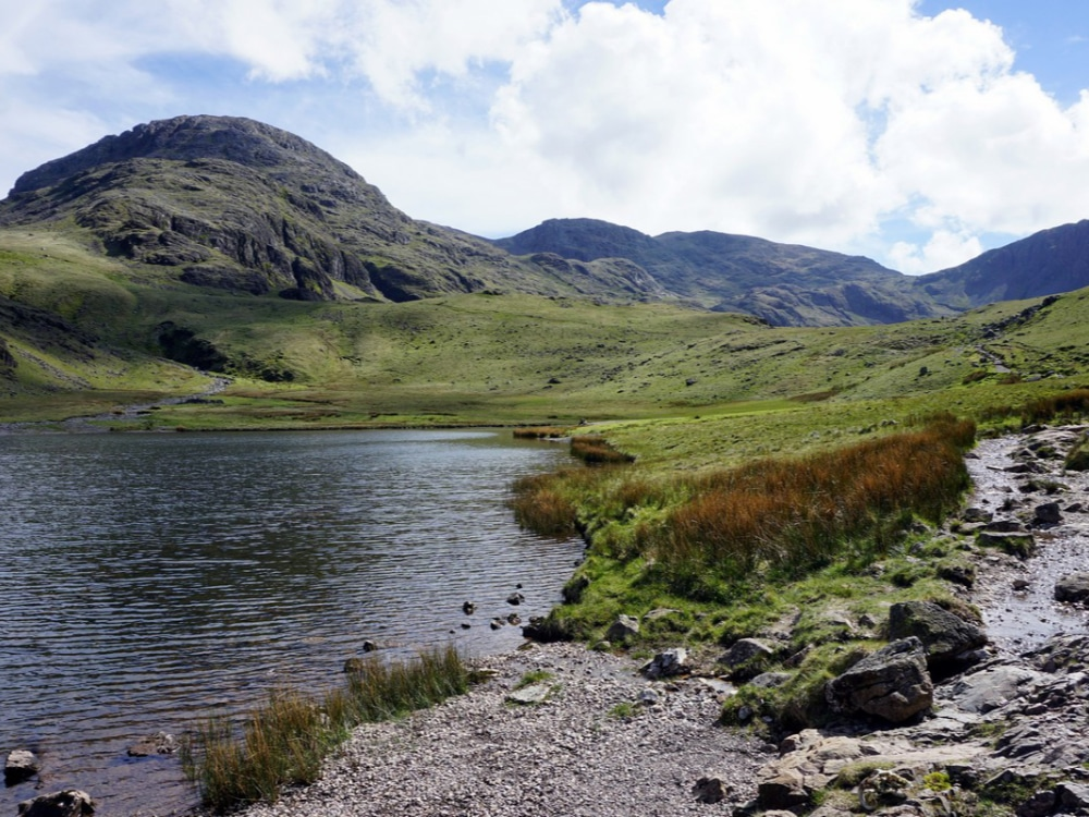 Styhead Tarn on the way down from Scafell Pike