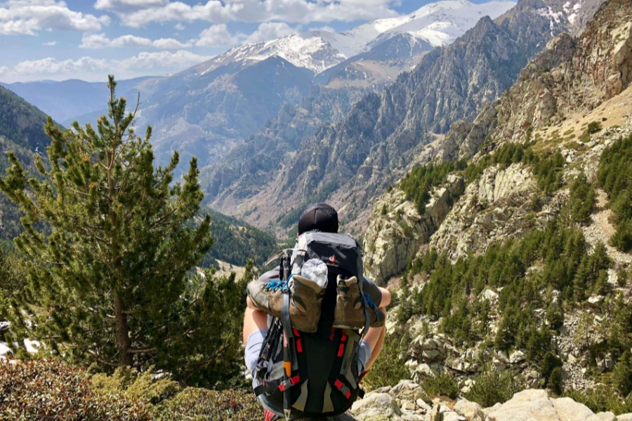 Training for the first backpacking trip Mountain views on backpacking trail