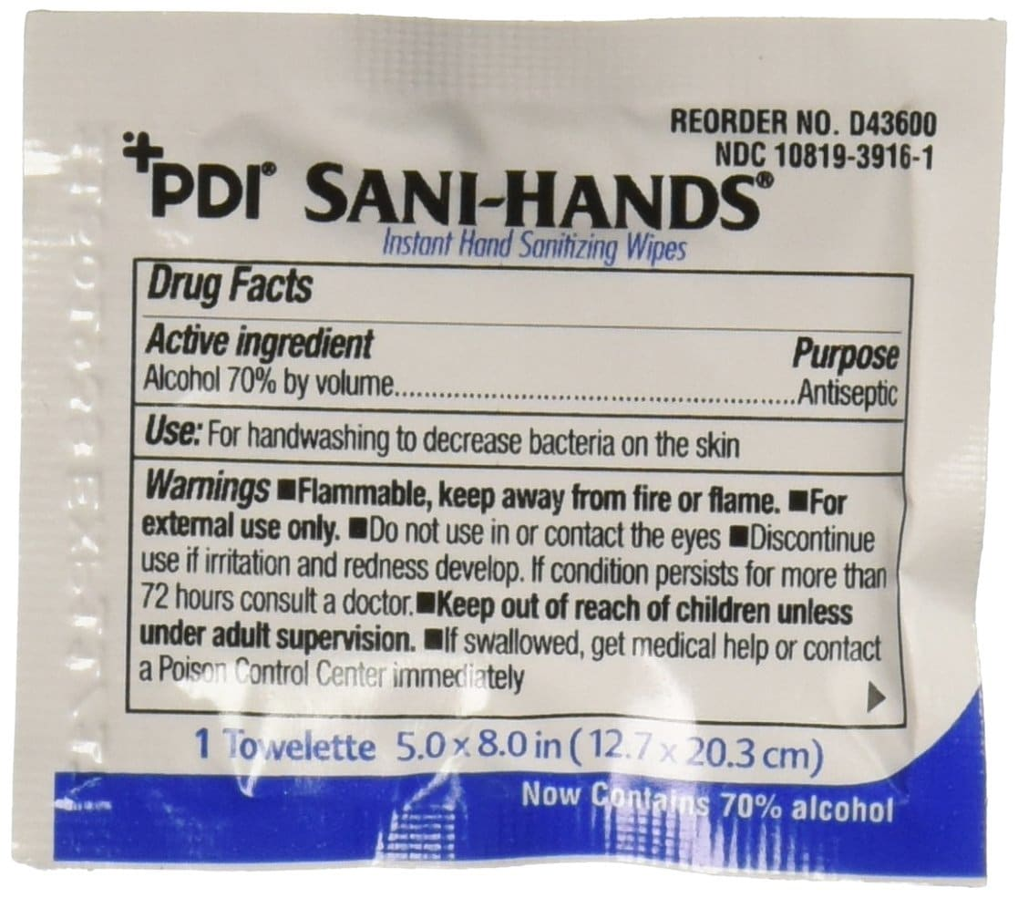 PDI Sani-Hands Instant Hand Sanitizing Wipes, Pack of 100