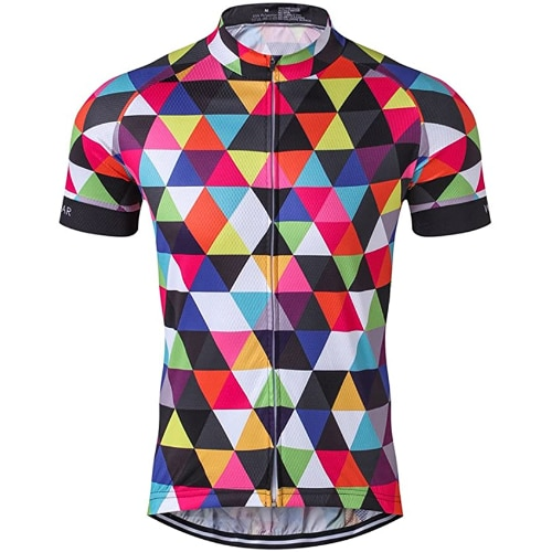 Men's Cycling Jersey Short Sleeve Bike Clothing Multicolored Diamond