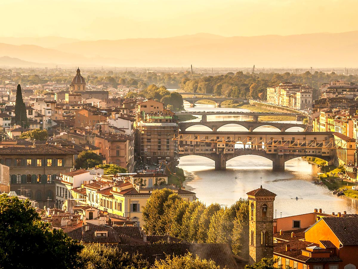 Bridges over the river in Florence, Tuscany