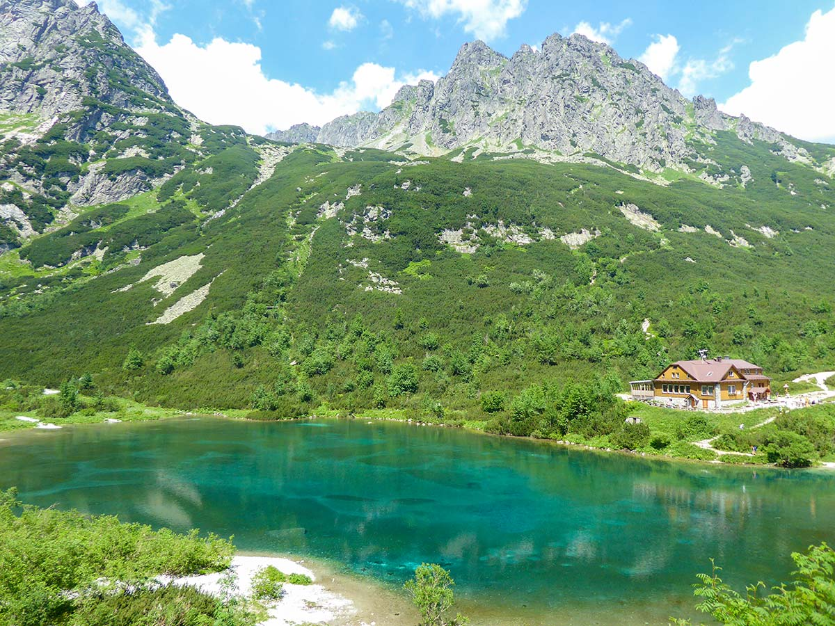 Beautiful Zelené pleso lake as seen from above