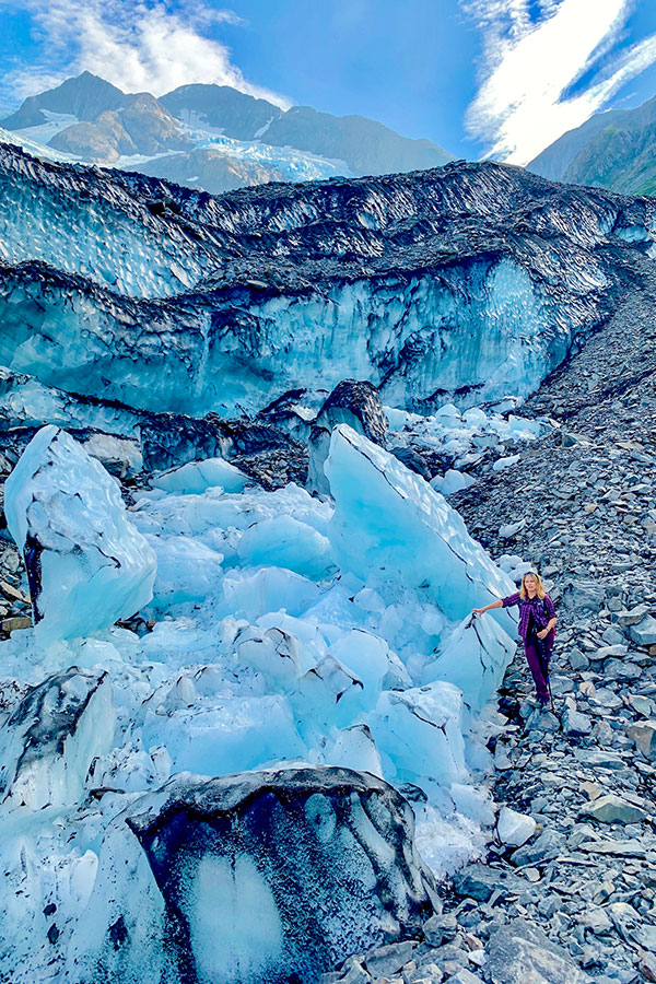Huge pieces of ice on Byron Glacier Trail Alaska