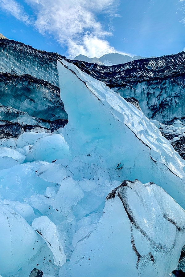 Byron Glacier is surrounded by stunning natural ice sculptures