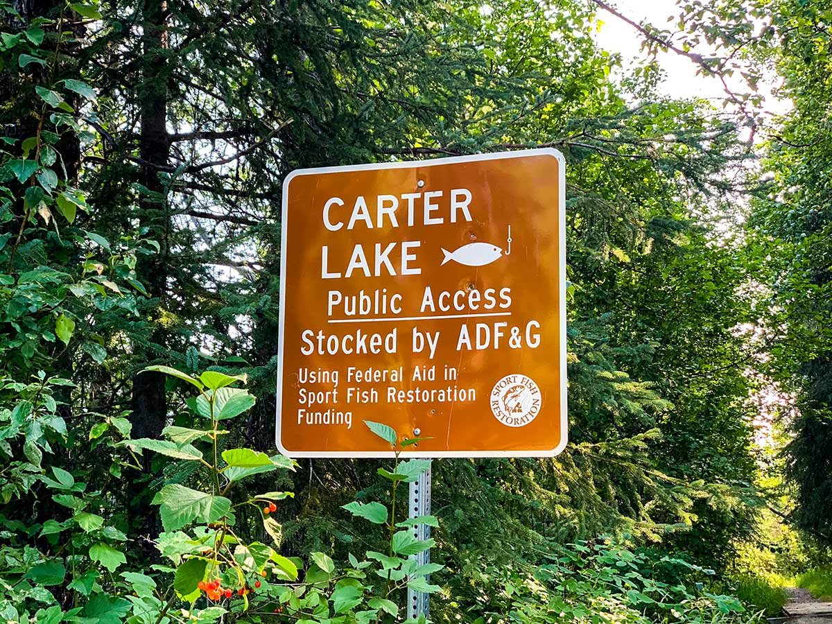 Signs along the trail to Carter and Crescent Lakes near Anchorage