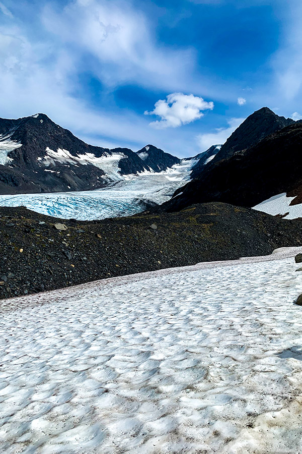 Snowy path near Raven Glacier on Crow Pass Hike in Chugach State Park