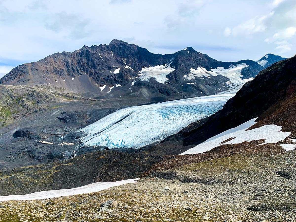 Raven Glacier can be seen on a hike from Girdwood to Crow Pass Alaska