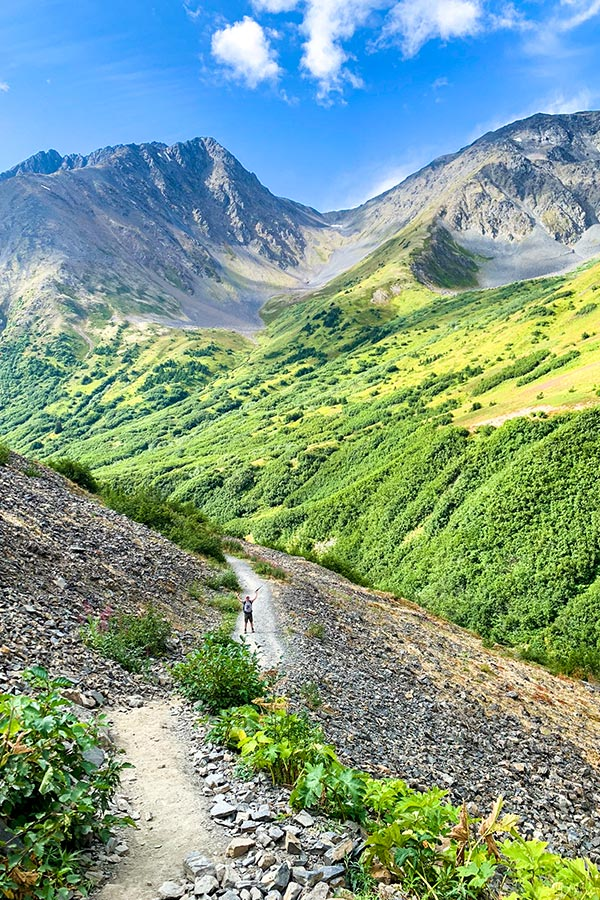 Wide path of Crow Pass Trail on a hike to Raven Glacier near Anchorage Alaska