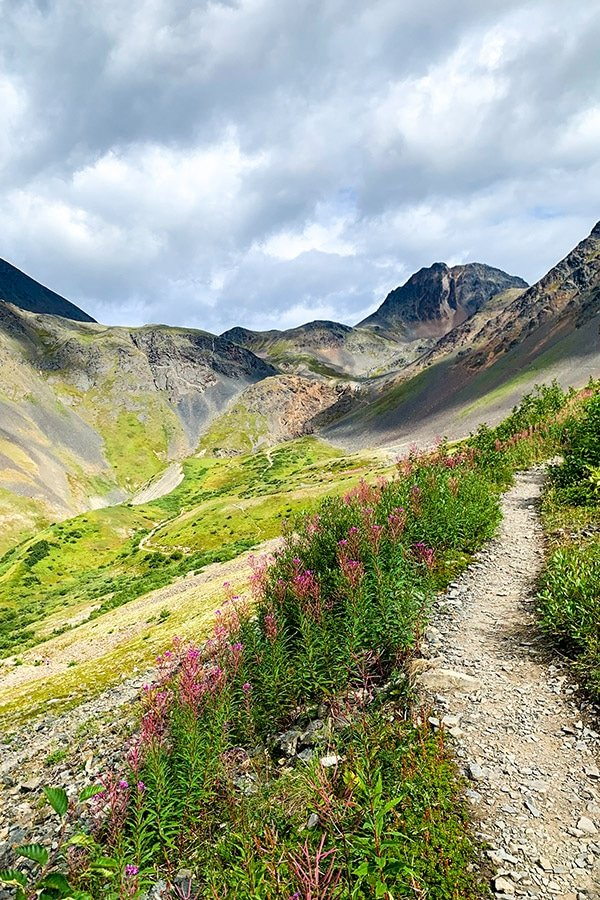 Path to Crow Pass in Alaska where Raven Glacier is