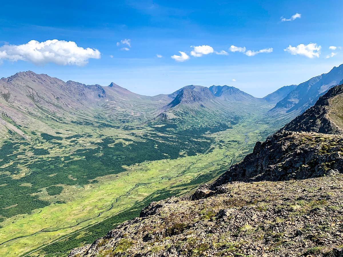 Flattop Mountain Trail near Anchorage has great views of the valleys