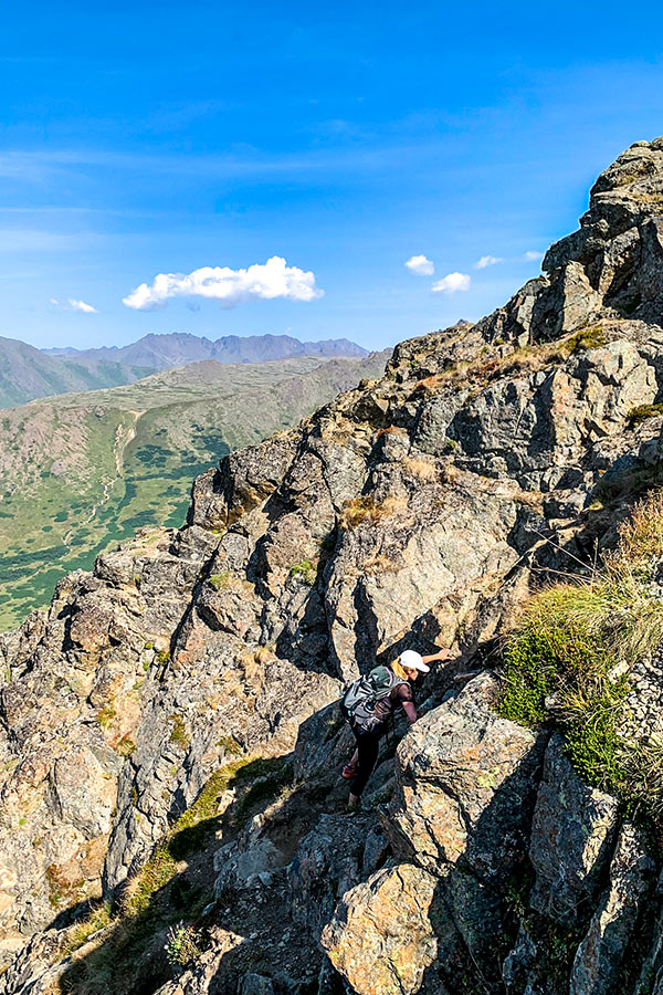 Getting to top of Flattop Mountain in Alaska involves some scrambling