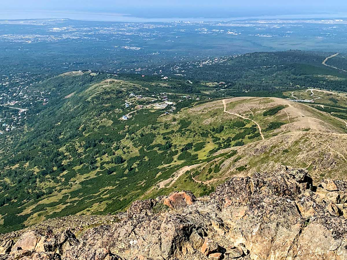 Looking down on the trail from the Flattop Mountain Top