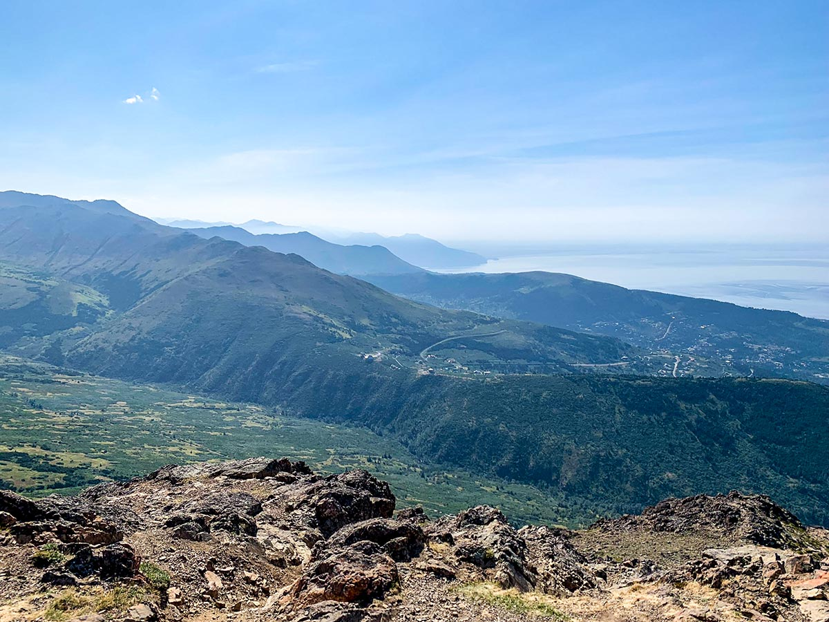 Looking towards Anchorage from top of Flattop Mountain Trail in Alaska