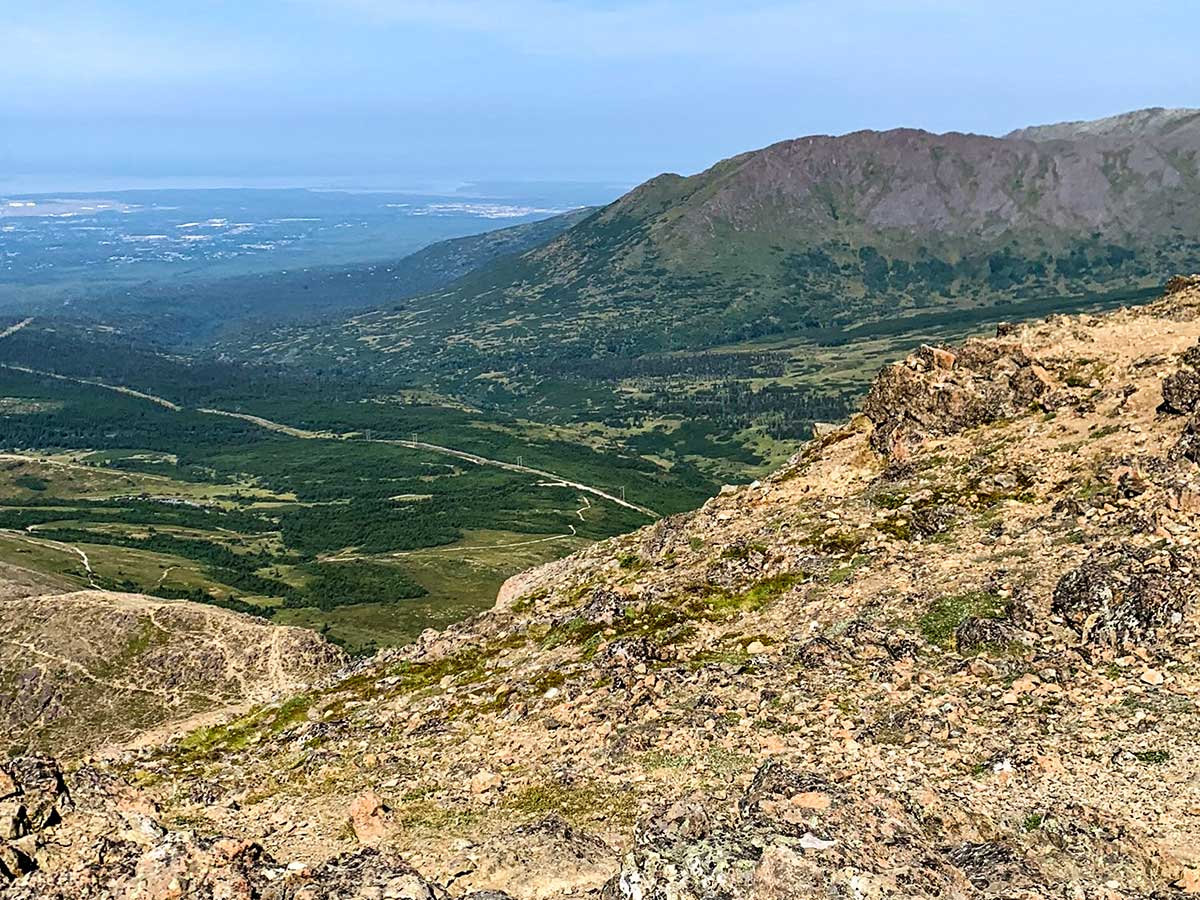 Expansive views of the meadows from top of the Flattop Mountain Trail