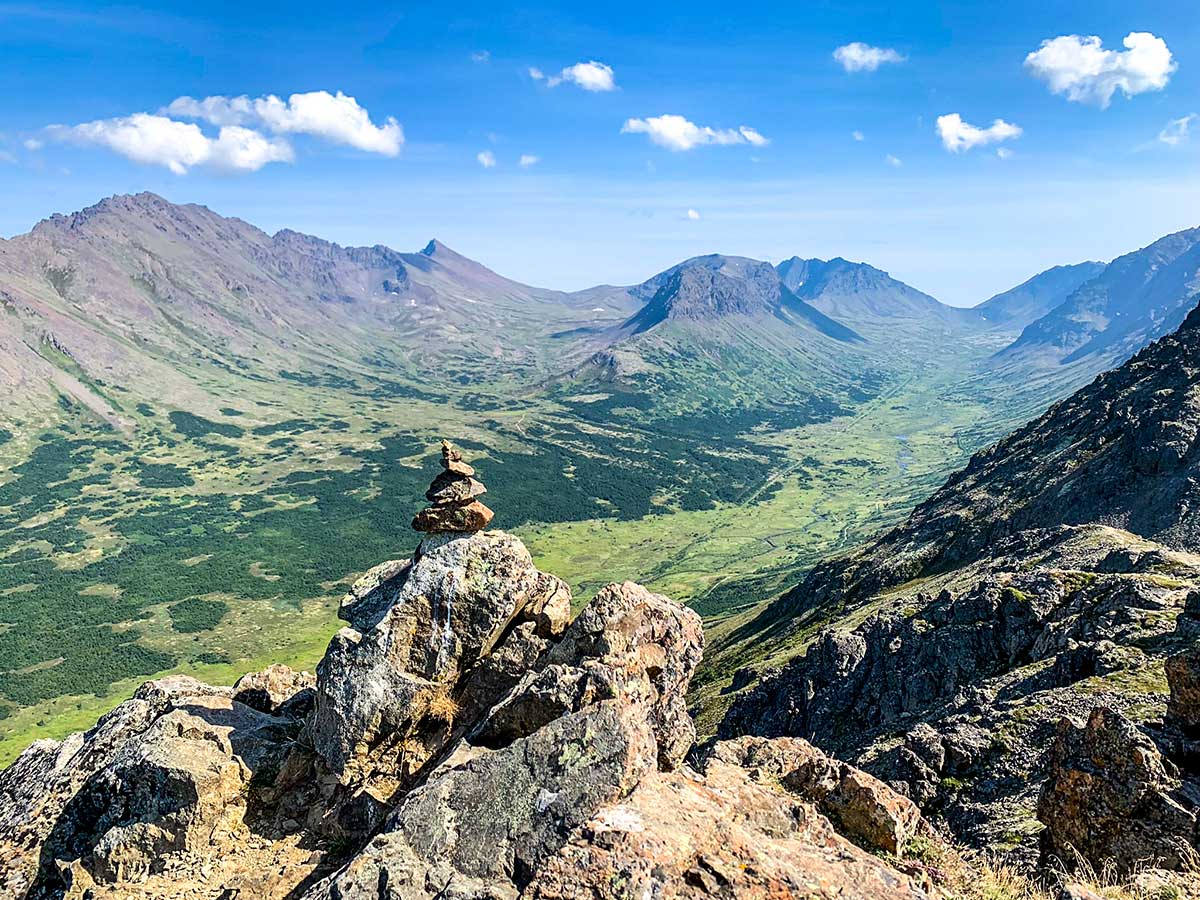 Cairn and valley views from Flattop Mountain Hike near Anchorage