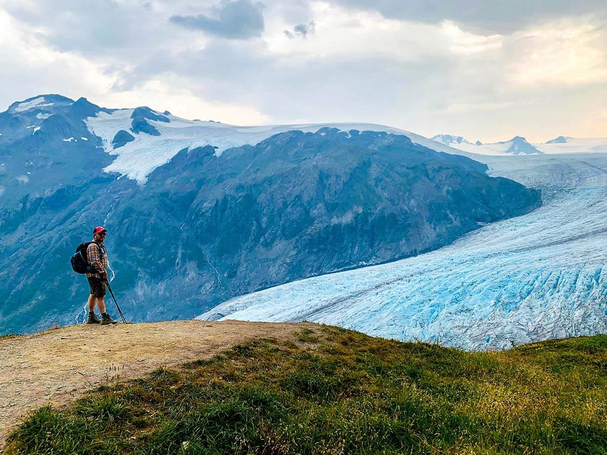 Hiker near top of Exit Glacier on Harding Icefield Trail in Alaska