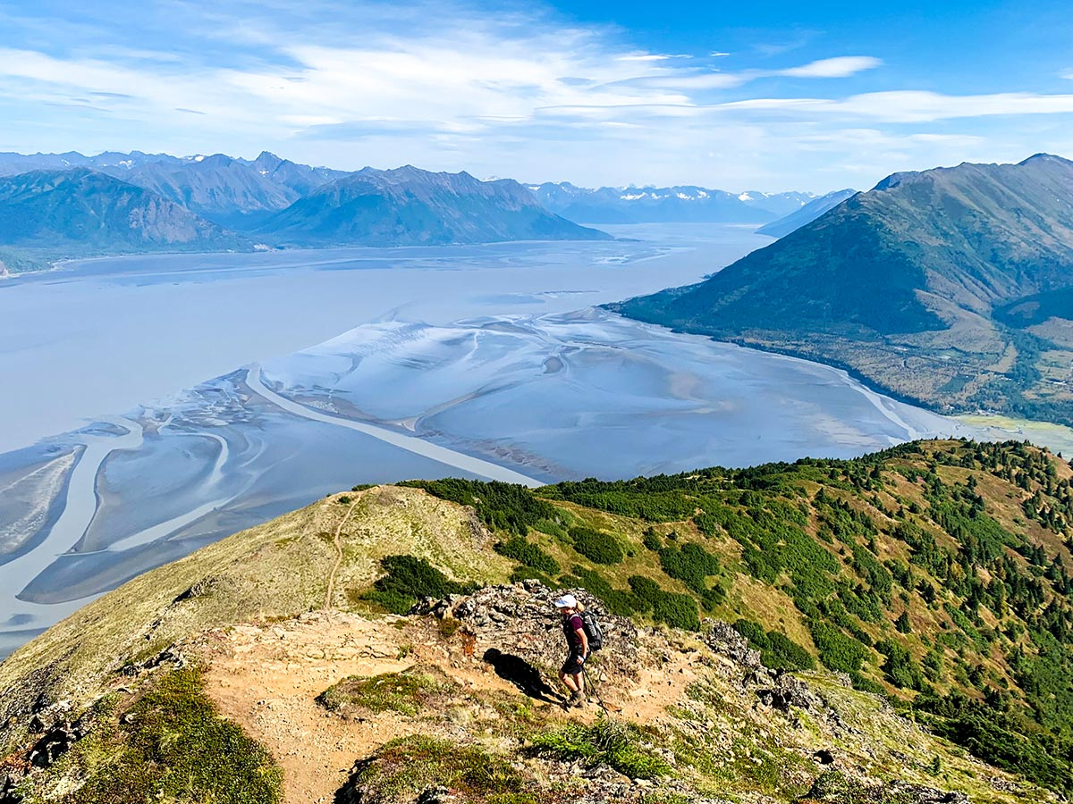 Turnagain Arm and Chugach Mountains behind on a trail to Hope Point