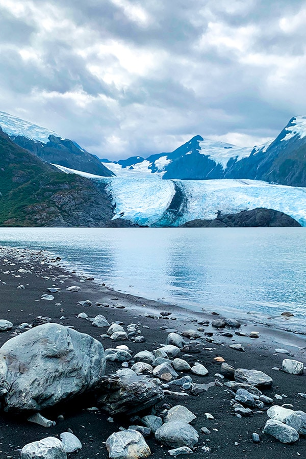 Rocks glacier and lots of ice on Portage Lake day hike in Alaska