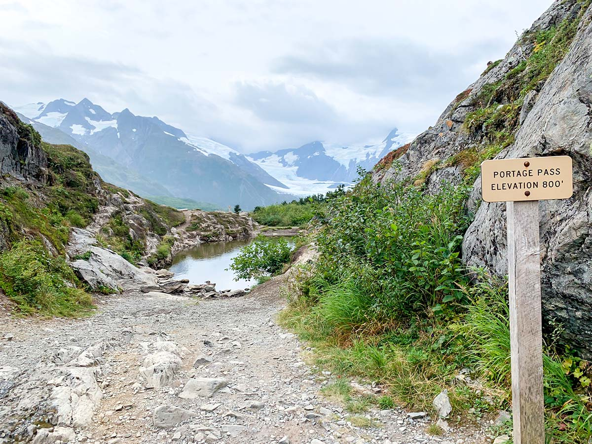 Crossing Portage Pass on a way to Portage Lake to see the beautiful glacier