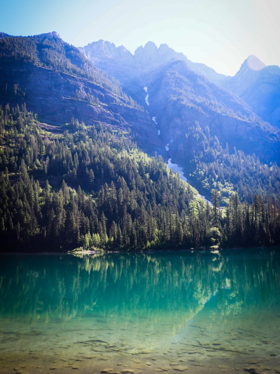 Turquoise waters of Avalanche Lake in Glacier NP