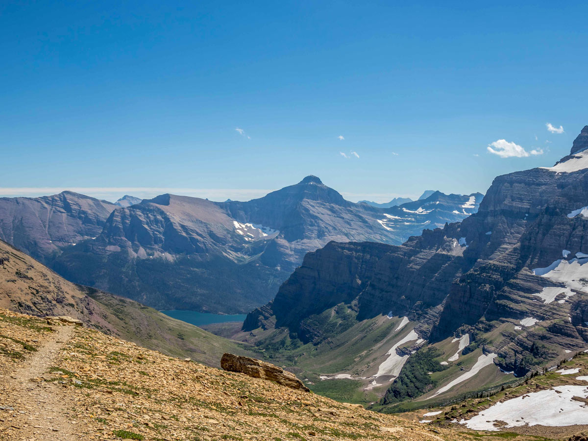 Siyeh Pass trail leading through Glacier National Park