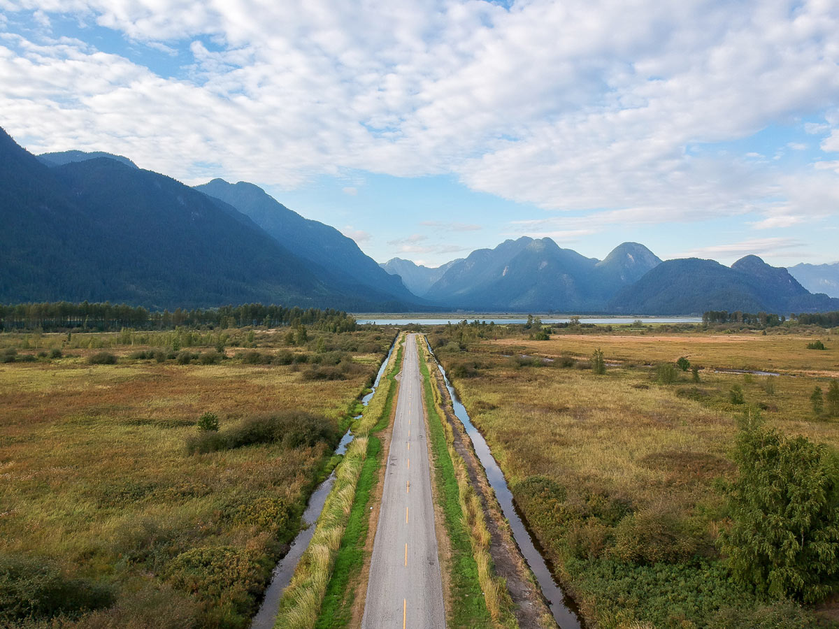The road into the Pitt River boat launch area where hikers will access Widgeon Falls Trailhead by canoe near Vancouver