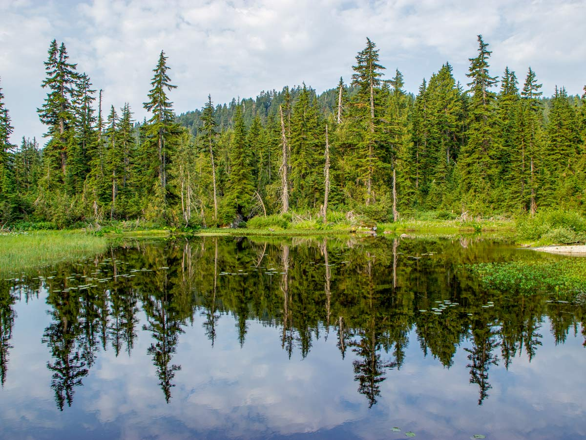A Scenic pond as you approach Dennett Lake along Munro Lake hike near Vancouver BC