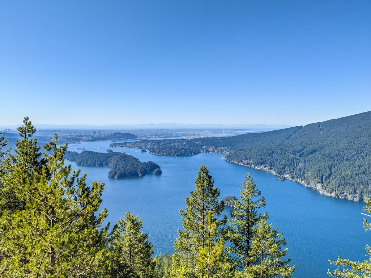 View of the Indian Arm from one of the lookouts at Diez Vistas near Vancouver