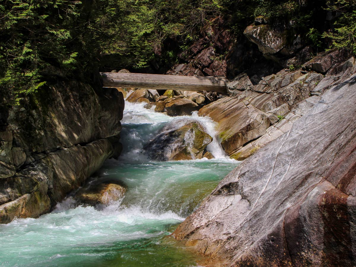View of Upper waterfalls at Gold Creek Falls near Vancouver