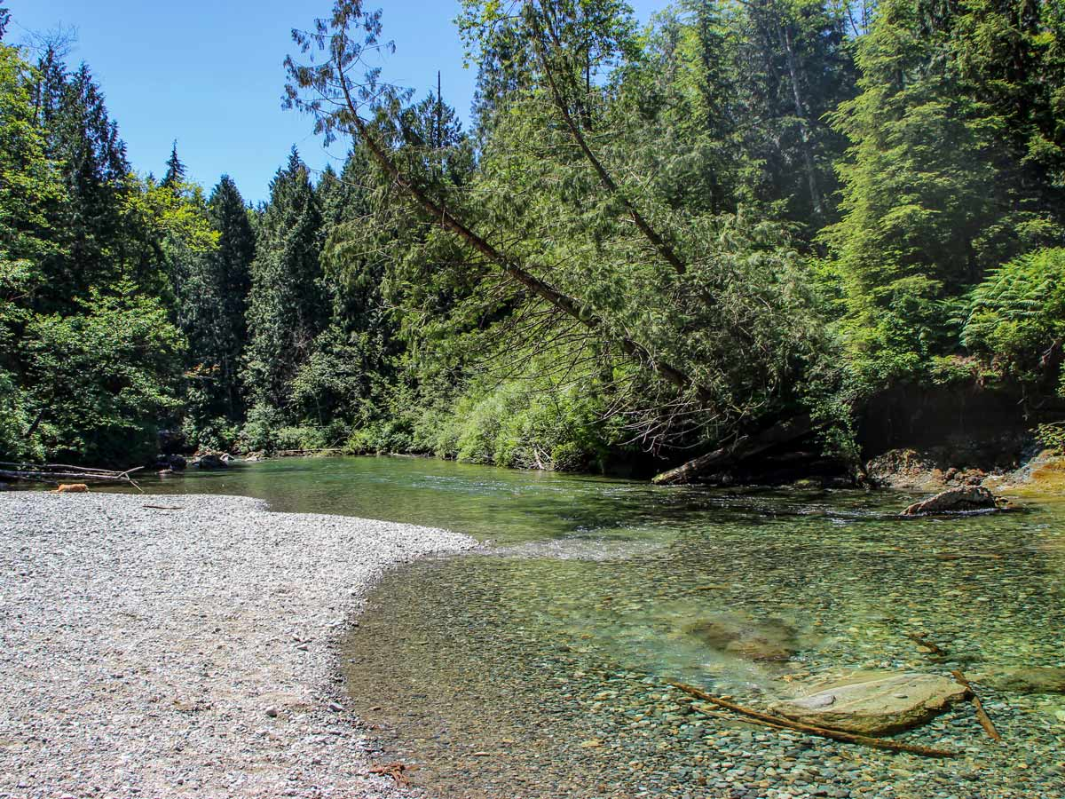 Clear waters of Gold Creek near Gold Creek Falls around Vancouver BC