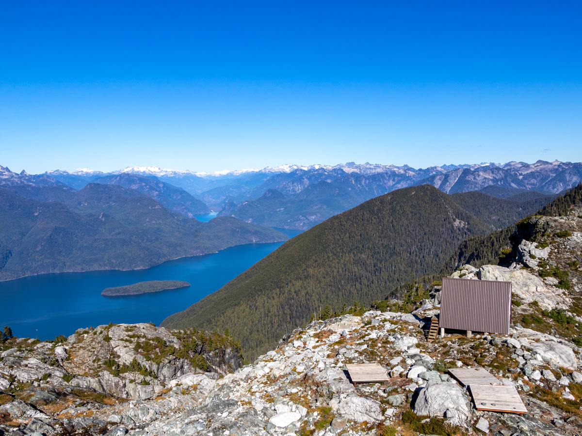 Emergency shelter near the summit of Golden Ears east of Vancouver